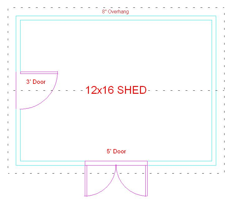 Free 12x16 shed building plan designs for 12x16 shed floor plans