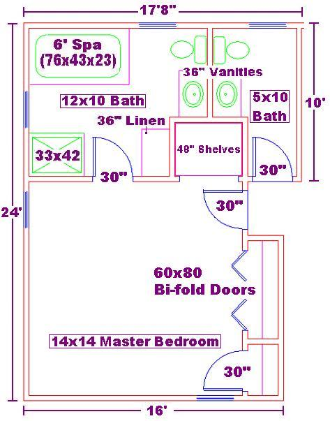10x12 Master Bath And 14x14 Bedroom Floor Plan