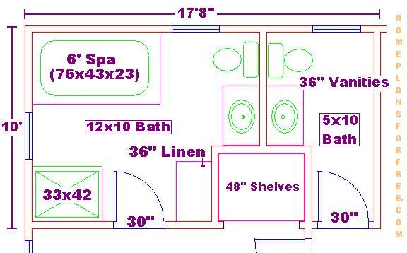free 10x12 and 5x10 bathroom design ideas floor plan with 14x14