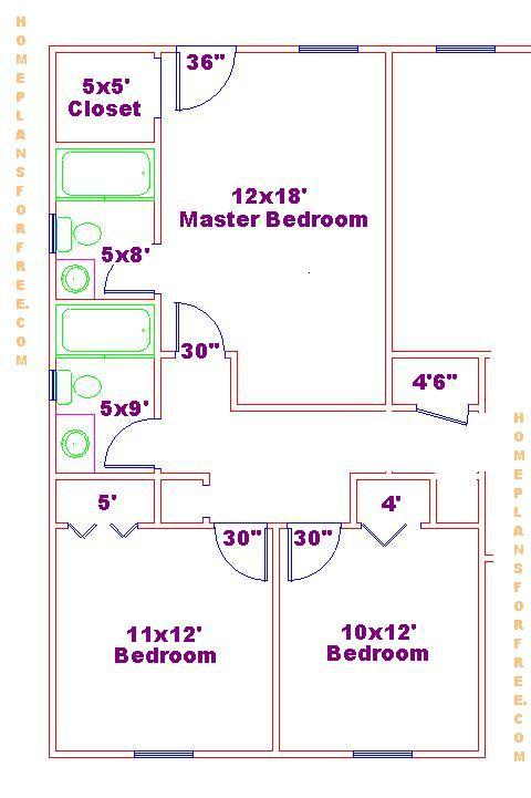 . 3 Bedrooms Floor Plan with Two Standard Size Bath Designs