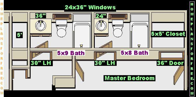 5x8 and 5x9 Baths Right Design. 3 Bedrooms Floor Plan with Two Standard Size Bath Designs