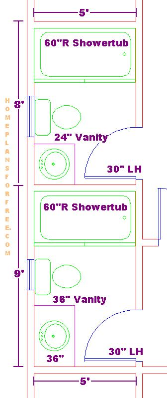 small 5x8 and 5x9 bathrooms floor plan - Bathroom Remodel Layout