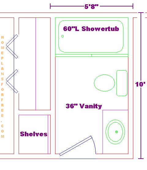 Free Bath Layouts with Standard Size 5x10 Designs