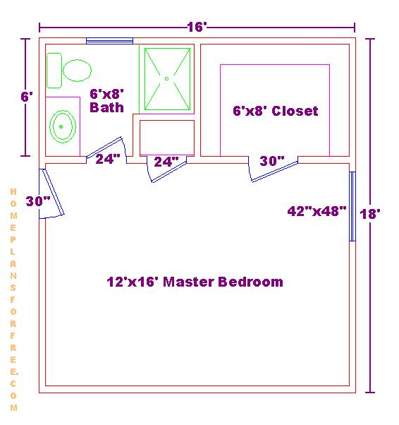 Free 12x16 Master Bedroom Design Ideas Floor Plan With Small 6x8 Bath And  Walk In Closet