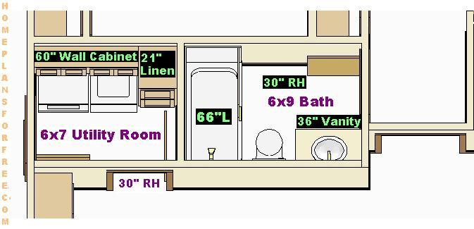 Laundry Room Free Plan Design with Home Layout including Family