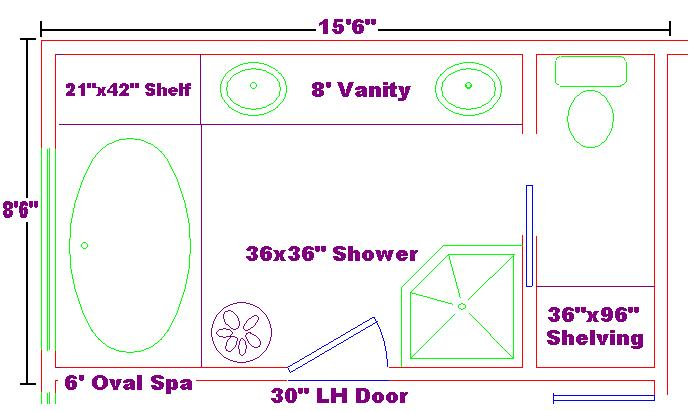 master bathrooms sizes master bath 8x15 free design ideas with oval spa large vanity and - Bathroom Designs And Measurements
