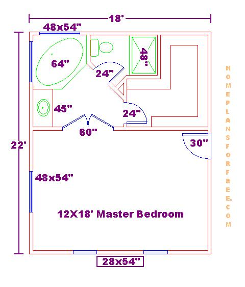 Free 18x22 Master Bedroom Addition Floor Plan With Master Bath And Walk In Closet